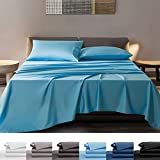 SONORO KATE Bamboo Sheets Bed Sheet Set - 100% Pure Organic Viscose - 400TC Bamboo 6 Pieces - Fit 18-20 Inch Deep Pocket Silk Feel, Cooling, Anti-Static, Hypoallergenic (Lake Blue, King)