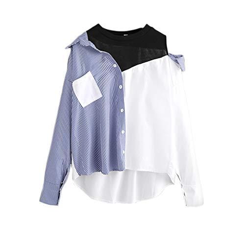 Patchwork Bluseshirt Damen Casual Langarm Farbblock Button Bluse Elegante TäGlichen Party Strand Tunika Tops T-Shirt Bluse Langarmshirt Schlank Blusen Langarm Hemd Oberteil