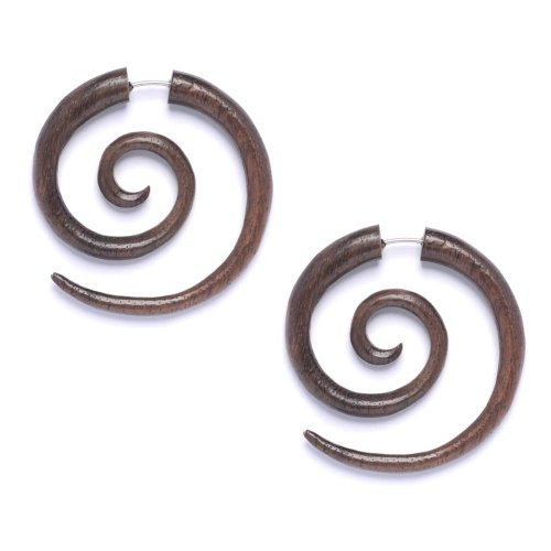 81stgeneration Nouveau artisanat du bois tribal spirale faux civière paire de boucles d'oreilles 16g