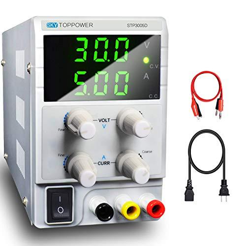 LETOUR Alimentatore da Laboratorio DC Regolabile Stabilizzato, Alimentatore da Banco 0-30V / 0-5A 3 Bit Display Basso Rumore con, Cavo a Coccodrillo e Cavo di Alimentazione AC 220V EMC