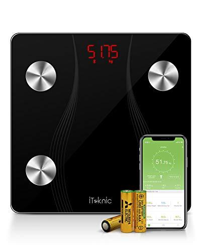 Balance Pèse Personne, iTeknic Pèse Personne Impédancemètre Balance Connectée Pèse Personnes Bluetooth Électronique Numérique Poids Masse Graisseuse et Muscle Graisse Musculaire IMC Pour iOS Android