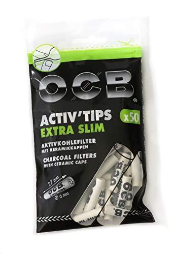 OCB ActivTips Extra Slim-Filtro de carbón Activo con Tapas de cerámica (6 mm, 1 Bolsa de 50 Unidades), Blanco, pequeño