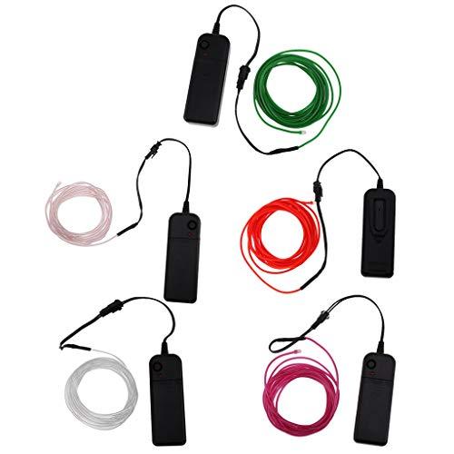 ZLININ Banda de alambre de neón brillante con luces LED, 3 yardas, color rojo + neón luminiscente LED resplandor El banda de alambre raya 3 yardas púrpura + neón Luminesc