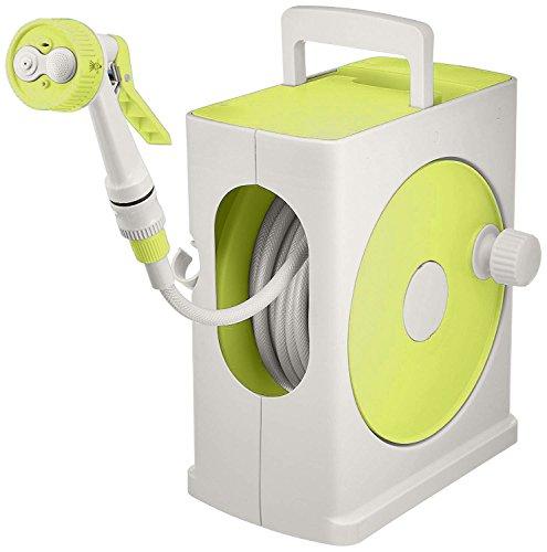 アイリスオーヤマ ホース リール フルカバーホースリールスリム 20M ライムグリーン×グレー 水やり 洗車 掃除 コンパクト スリム