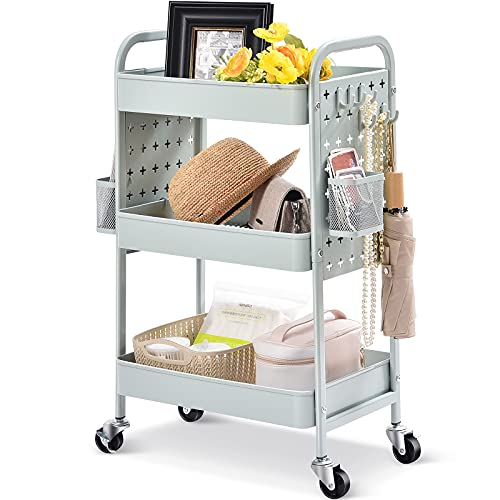 TOOLF 3-Tier Rolling cart, Utility Storage Cart with DIY Dual Pegboards, Art Craft Trolley with Removable Baskets Hooks, Organizer Serving Cart Easy Assemble for Office, Home, Kitchen,Classroom,Green