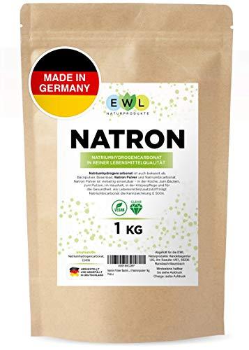 Natron Pulver Backing Soda 1kg I Deutsche Herstellung u. Abfüllung I Hochreine Lebensmittelqualität I Natronpulver 1kg