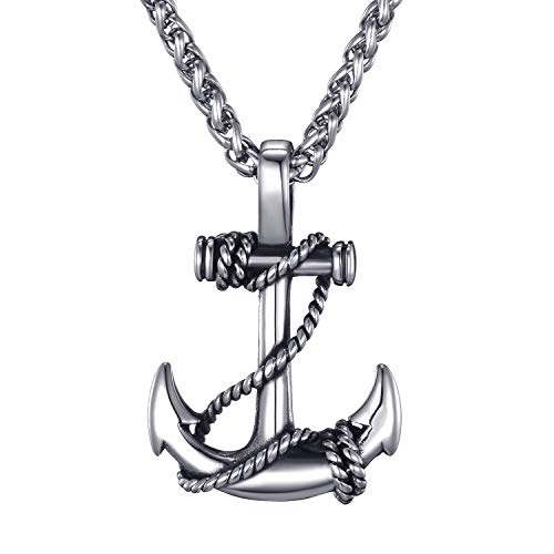 Mens Stainless Steel Nautical Anchor Necklace Vintage Navy Mooring Rope Anchor Pendant with 24 Inches Link Chain