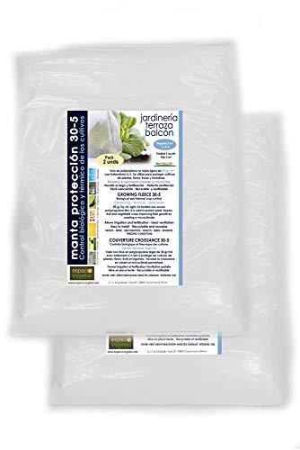 Espacio Vegetal Malla ANTIHELADA .Pack 2 unds. Plegada de 5m² de 30gr. Medidas 1 x 5m. Protege de Bajas temperaturas los Cultivos de Plantas, Flores, hortalizas y Frutas.