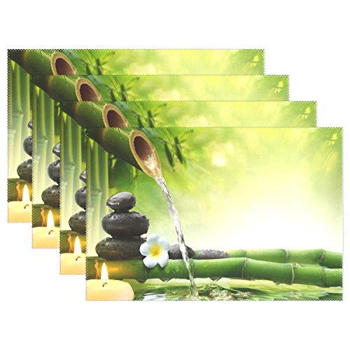 Vinlin Fleur Japonais Zen Stone en Bambou résistant à la Chaleur de Cuisine Sets de Table 30,5 x 45,7 cm Table de Salle à Manger Set de Table Support de Plaque Lot de 4, Multicolore, 6 pièces