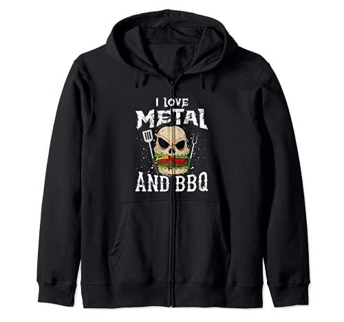 Heavy Metal And Barbecue - Hard Rock Biker BBQ Rockabilly Zip Hoodie
