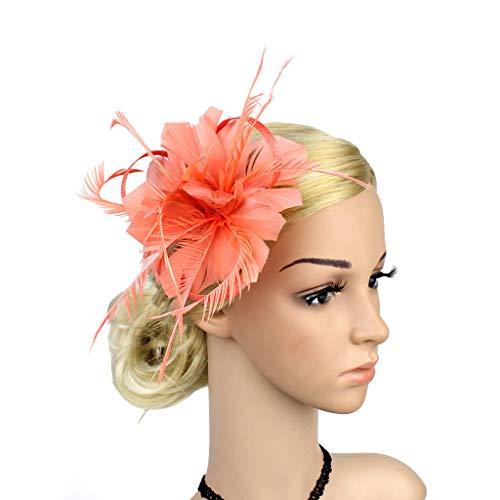 Hair Accessoires, Feather Fascinators Womens Flower Derby Hat for Cocktail Ball Wedding Headband Twist Hairband Headwear Hairband,Orange