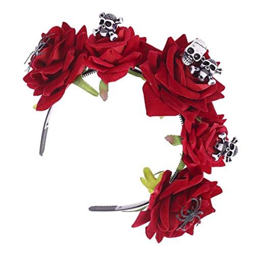 GARNECK Diadema de Día de Los Muertos Rosa Floral Calavera Día de Los Muertos Diadema de Fiesta de Halloween
