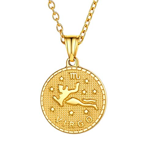 18k Gold Virgo Layered Coin Necklace Custom Name Jewelry Stainless Steel Horoscope Constellation Zodiac Star Sign Charm Necklace for Women Men Birthday Gift
