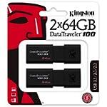 Kingston 64GB USB 3.0 Black DataTraveler 100 G3 2 Pack DT100G3/64GB-2P