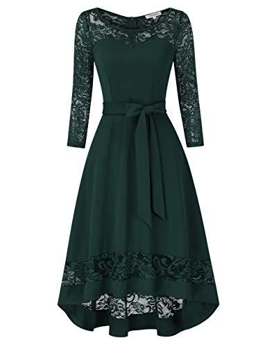 KOJOOIN Damen 1950er Spitzenkleid Abendkleider Brautjungfernkleider für Hochzeit Unregelmässig Cocktailkleid Langarm Dunkelgrün【EU 34-36】/S