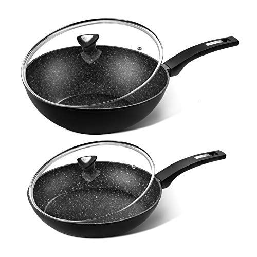 CSK 11''+12'' Nonstick Frying Pan Sets With Lids -Granite Pans with Stone-Derived Ultra Nonstick Coating, PFOA & APEO Free, Aluminum Alloy, Wok Pans, Stir fry pans, Induction Compatible Skillets