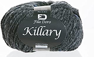 Killary tweed, Ferner wolle, merino cashmere tweed, dark gray 3, bulky yarn, 50 grams 104 yrds