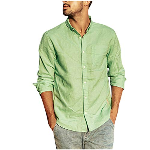 Best Bargain FEDULK Men's Slim Fit Business Casual Cotton Linen Long Sleeves Solid Button Down Dress Shirts(Green, XX-Large)