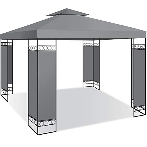 KESSER® - Pavillon 3x3m wasserabweisend UV-Schutz 50+ Metall Gestell Partyzelt Gartenzelt Luxus Gartenpavillon 9m² Festzelt, Grau