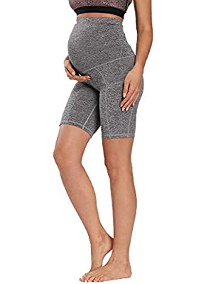 Foucome Women's Maternity Over The Belly Active Lounge Comfy Yoga Short Workout Running Athletic Non See-Through Yoga Shorts (Heather Gray, Small)