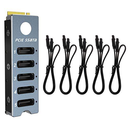 Ywengouy Array Card JMS585 5 puertos SATA3 para M. 2 NVME PCI-E 3.0 a SATA para ThunderBolt3 Cable Joystick