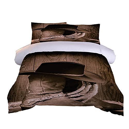 Juego de Funda nórdica patrón de Botas y Sombrero de Vaquero marrón Juego de edredón con Estampado de 3D Juego de Cama 135x200cm+2 Fundas de Almohada