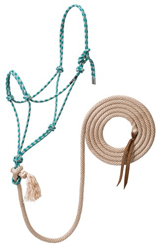 Weaver Leather Silvertip No. 95 Rope Halter with 10' Lead, Average, Teal/Tan/Silver/White