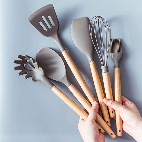 QZH Utensilios de Cocina de Silicona Gadgets Mango de Madera Utensilios de Cocina Juego de Utensilios de Cocina Espátula Pala Cuchara Hogar