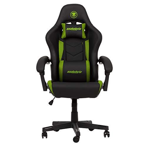 Snakebyte Gaming Seat EVO - schwarz/grün - Gaming Stuhl mit extra gepolsterte Armlehnen, Einstellbarer Neigungswinkel, höhenverstellbarer Schreibtischstuhl, Ergonomischer Stuhl, Chefsessel, Bürostuhl