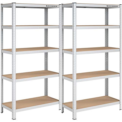 Songmics GLR80SV - Juego de 2 estanterías para Cargas Pesadas, 180 x 90 x 40 cm, soporta hasta 875 kg, 5 estantes Ajustables, estantería de Metal, estantería para Taller, sótano, Color Plateado