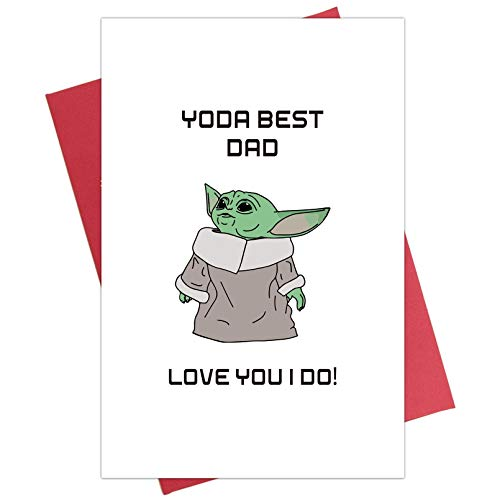 Baby Yoda Birthday Card for Father, Star Wars Birthday Card for Dad, Yoda Best Dad, Father's Day Card