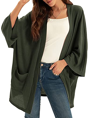 GRACE KARIN Women's Long Sleeve Open Front Casual Lightweight Soft Knit Cardigan Sweater Outerwear with Pockets Army Green XL