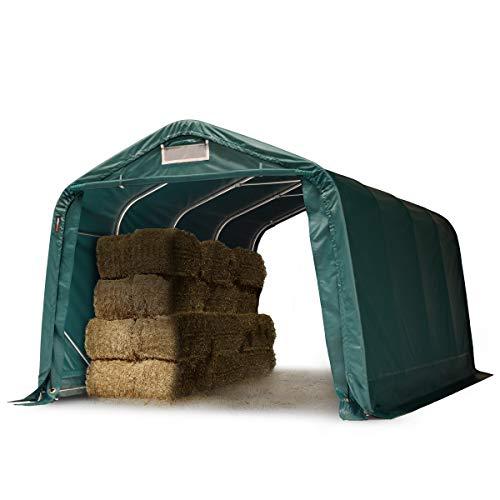 TOOLPORT Tente de pâturage Robuste 3,3x4,8 m étanche bâche PVC env. 550g/m² abri pour Chevaux écurie Ouverte, Vert