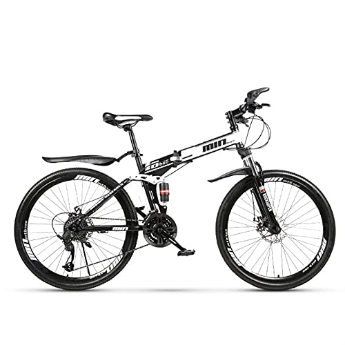 Youth/Adult 27-speed 26 inch spoke wheel All-in-one Folding Mountain Bike, Mountain Cross-country Bike Front Suspension, Multiple Colors, Beaded Pedals, High Carbon Steel Frame, Double Shock Absorber