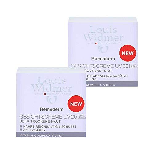 2 x Louis Widmer Remederm Gesichtscreme UV 20 Parfümfrei je 50ml trockene Haut