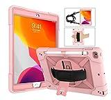 Funda para iPad 7 Generacion 10,2 2019, FAN SONG Carcasa Antigolpes para iPad 8 Generación 2020 con Soporte y Correa de Mano y Bandolera, Portalápiz [360 Grados de Rotacion] para Niños, Oro Rosa