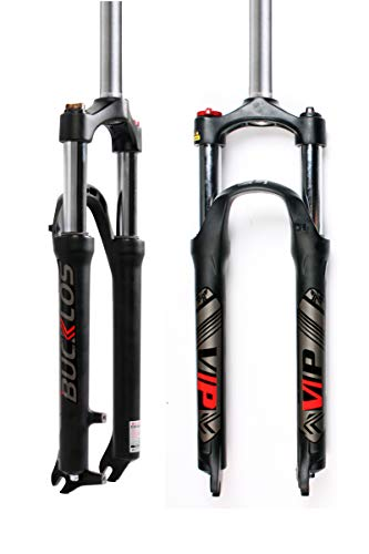 BUCKLOS 【US Stock】 26/27.5/29 MTB Suspension Fork Travel 100mm, 28.6mm Straight Tube QR 9mm Crown Lockout Aluminum Alloy XC Mountain Bike Front Forks