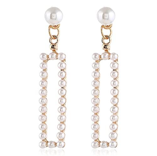 NA Drop Earrings Women with Imitation Pearl Earrings, Rectangular Earrings Women Jewellery