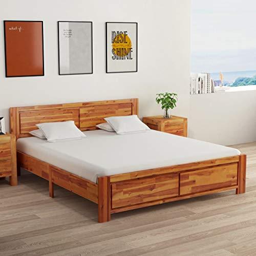 Ausla Erwachsenenbett mit 2 Nachttischen, Holzbettrahmen mit zentraler Stützschiene, Braun 208 x 165 x 85 cm