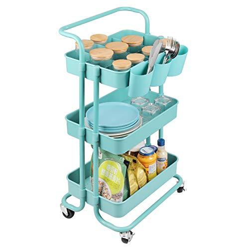 alvorog Servierwagen Küchenwagen Rollwagen Regal für Küche Büro mit Rollen 3 Etagen (Blau)