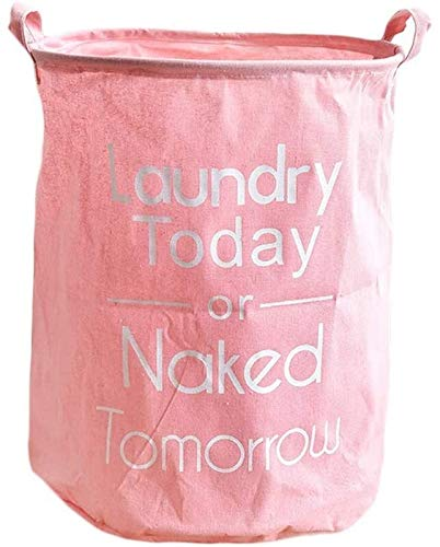Feceyq Foldable Laundry Basket Collapsible Laundry Basket for Round Canvas Storage Bin with Lids Cute Design Dirty Clothes Hamper with Durable Leather Handle Waterproof Inner Best Gift (Color : Pink)