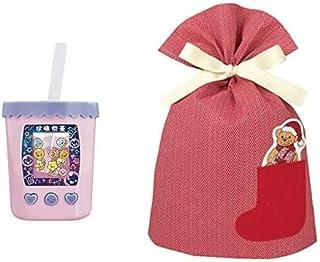 バンダイ まぜまぜミックス! ぷにタピちゃん ピーチミルクティー + インディゴ クリスマス ラッピング袋 ポケットバッグL ベア レッド XG501