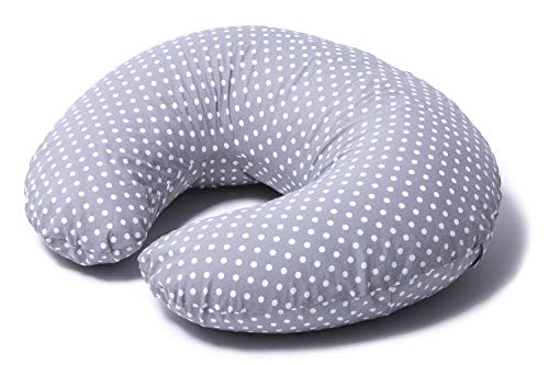 Niimo Cuscino allattamento Neonato + Federa 100% Cotone Sfoderabile e Lavabile con Zip a Scomparsa Facilita L'allattamento al seno o con il Biberon Versatile (Grigio-Pois Bianco)