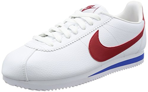 Nike Herren Classic Cortez Leather Laufschuhe, Weiß (White varsity red-varsity royal), 45 EU
