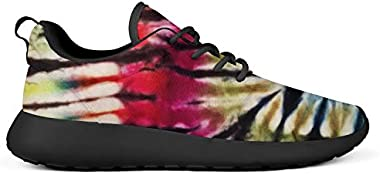 Trippy Tie Dye Art Young Women Sneakers Breathable and Lightweight Cool