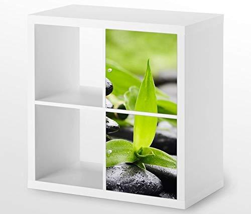 Möbelaufkleber für Ikea KALLAX / 2x Türelemente vertikal Wellness Stein Kat5 Yoga Bambus Massage Aufkleber Möbelfolie Tür sticker (Ohne Möbel) 25G145