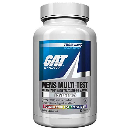 GAT Sport Mens Multi + Test, Premium Multivitamin and Complete Testosterone Boosting Support with Tribulus Terristis, 60 Tablets/30 Servings