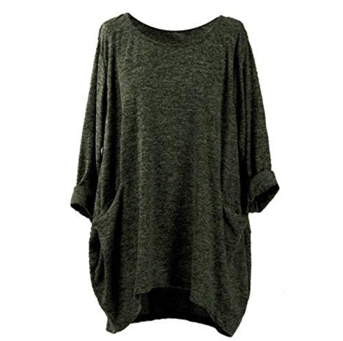 OtoñO Invierno Bolsillo De Cuello Redondo Camiseta De Color SóLido Camiseta Suelta De Manga Larga
