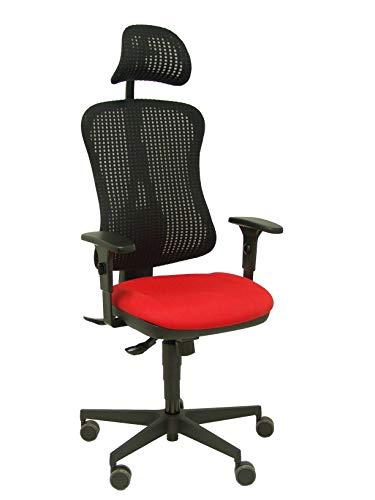 Silla Agudo sincro malla negra asiento tela rojo brazos regulables con cabecero