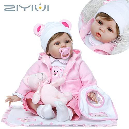 ZIYIUI 55cm Lebensechte Mädchen Puppe Reborn Babypuppen Weiche Vinyl Silikon Geburtstagsgeschenk Wiedergeboren Puppen Spielzeug